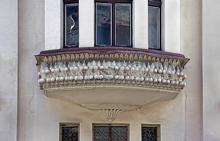 Beautiful beige stone architecture balcony