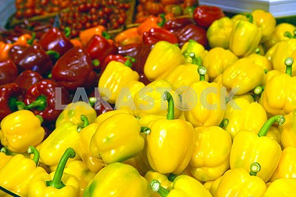 Peppers on display in a supermarket