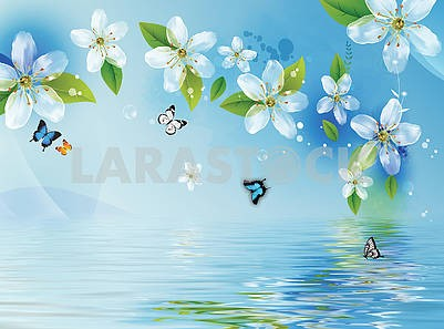 Blue background, water, white translucent flowers and butterflies
