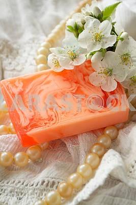 natural soap. handmade sakura soap. cherry blossom flowers. spa treatments