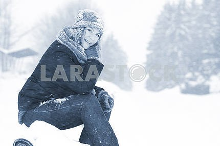 Woman with Snow