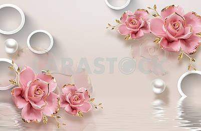 3д иллюстрация, бежевый фон, белые кольца, белый жемчуг, розовые позолоченные бутоны роз, отражение в воде