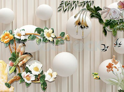 3d illustration, beige background, vertical lines, white balls, flowering branches with parrots sitting