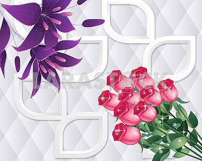 3D illustration, light background with roses