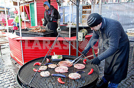 The seller of sausages on the Sofia Square