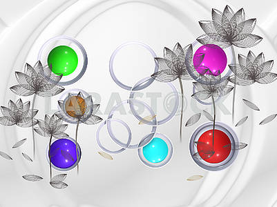 3d illustration, light background, arch, white rings, gray flowers from curves, colorful shiny balls