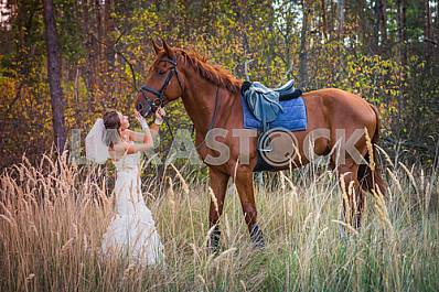 Bride brown-haired woman standing in front of a horse, in wedding dress mermaid silhouette, among the high autumn grass, autumn, forest on the background