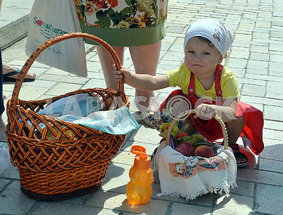 Girl with baskets