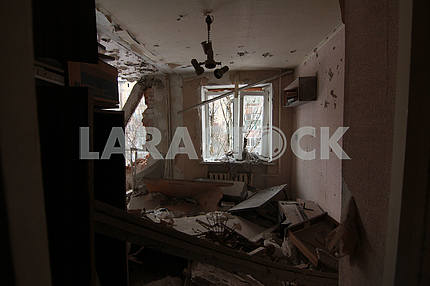 Apartment after the bombardment in Avdeevka.