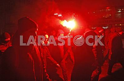 Torchlight procession of nationalists in Kiev