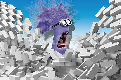 3D illustration, children background, gray bricks, purple minion