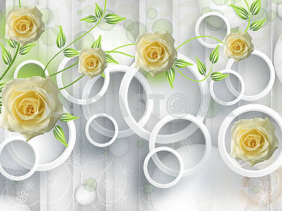 3d illustration, light background, vertical lines, white rings, large yellow rosebuds, green stems with leaves