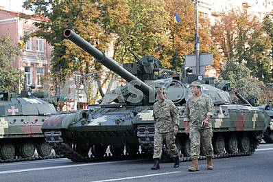 The rehearsal of the military parade in Kiev