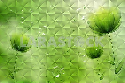 3d illustration, green background with soap bubbles and dark green flowers