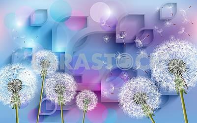 3д иллюстрация, красочный праздничный фон, большие белые одуванчики и летающие семена одуванчика