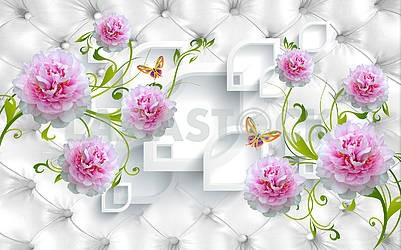 3d illustration, white background, upholstery, butterflies, large white and pink peony buds