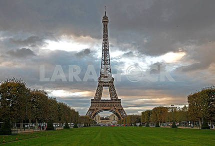 The Eiffel Tower and the Champs Elysees