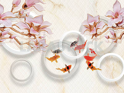 3d illustration, light background, white rings, large pink lilies on gilded branches, colorful fish