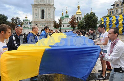 The biggest flag of Ukraine in the world was deployed on Sofia's Square