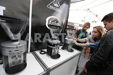 Rack with coffee makers on the coffee festival in Lviv