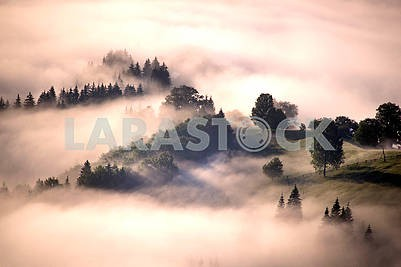 Dawn over the village of Verkhovyna