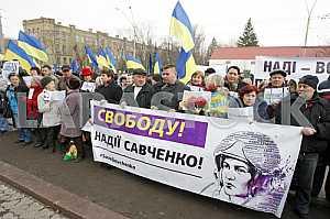Rally of Batkivshchyna to support of Nadezhda Savchenko in Kiev