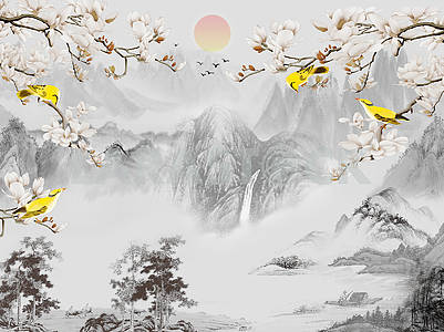 Landscape illustration, gray mountains, trees, sunrise in the fog, yellow birds sit on the branches of a tree that blooms with white flowers