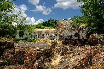 Stones on a background of blue sky Tract cascades summe