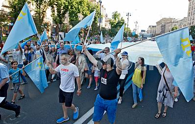 Day of Crimean Tatar flag in Kiev
