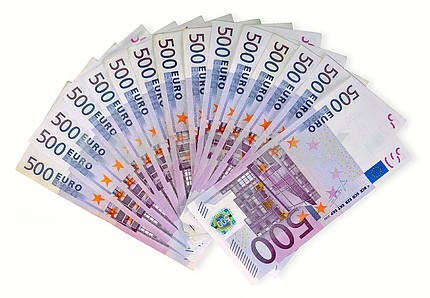 Fan of euro banknotes