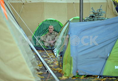 Participant of the meeting in the tent