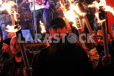 Torchlight procession of volunteer battalions in the Dnieper