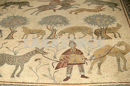 Mosaic panel with animals