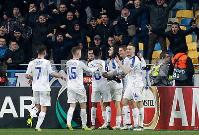 Dynamo players celebrate a goal