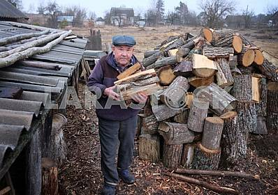 An elderly man carries firewood
