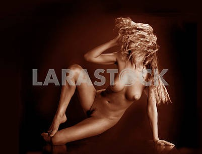 Monochrome image of a naked girl in an expressive pose