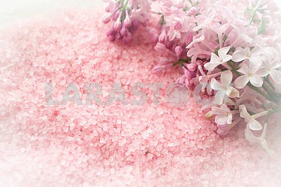Spa concept with pink sea salt and fresh lilac flowers flat lay