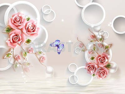 3d illustration, light beige background, white rings, pearls, curly pink roses, lilac butterfly