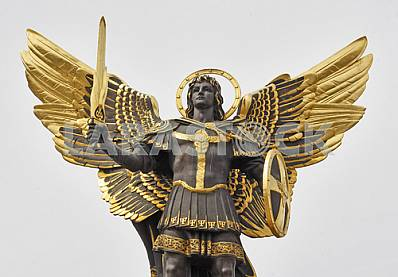 Monument to Archangel Michael and Lyadsky gate in Kiev