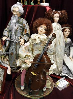Various author dolls on the stand