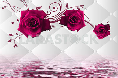 3d illustration, white background with rhombuses, large purple roses, reflection in water