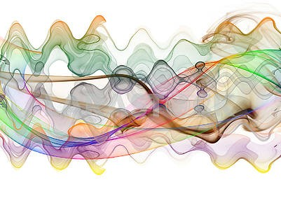 Abstract illustration, white background, colored dynamic waves