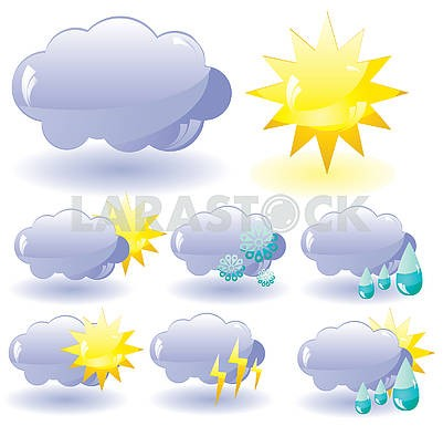 Set of glass Weather icons