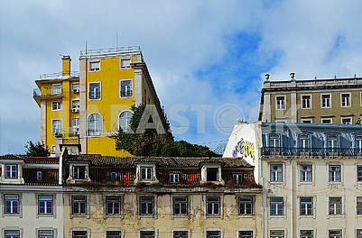 Old and new houses on the Municipal Square in Lisbon, Portugal