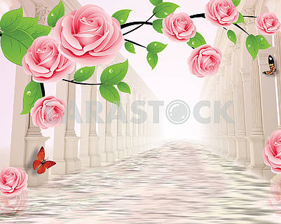 3d illustration, light background, large pink roses on a branch, two rows of columns stand in the water, colorful butterflies fly