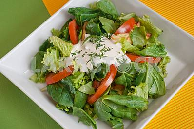 Fresh vegetable salad with sour cream