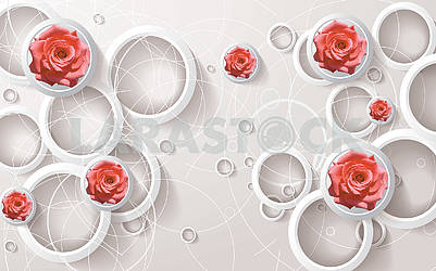 3d illustration, light background, white rings, white lines, buds of pink roses
