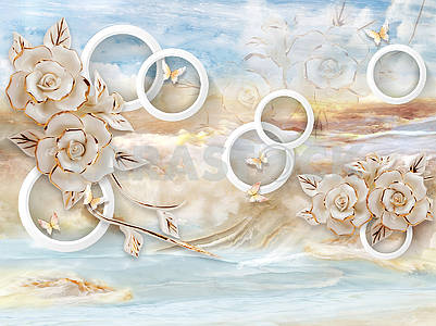 3d illustration, blue and beige marble, white rings, large gilded flowers, butterflies