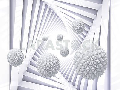 3d monochrome illustration, spiral with right angles, white paper balls