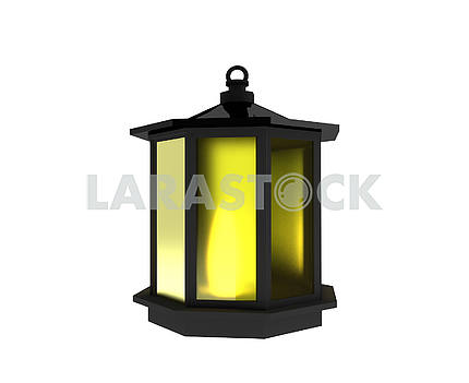 Black lantern with light on isolated white in 3D render image